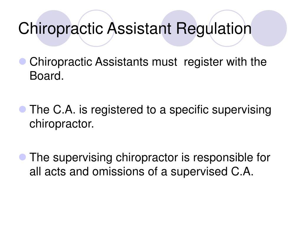 Chiropractic Assistant Regulation