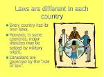 laws are different in each country