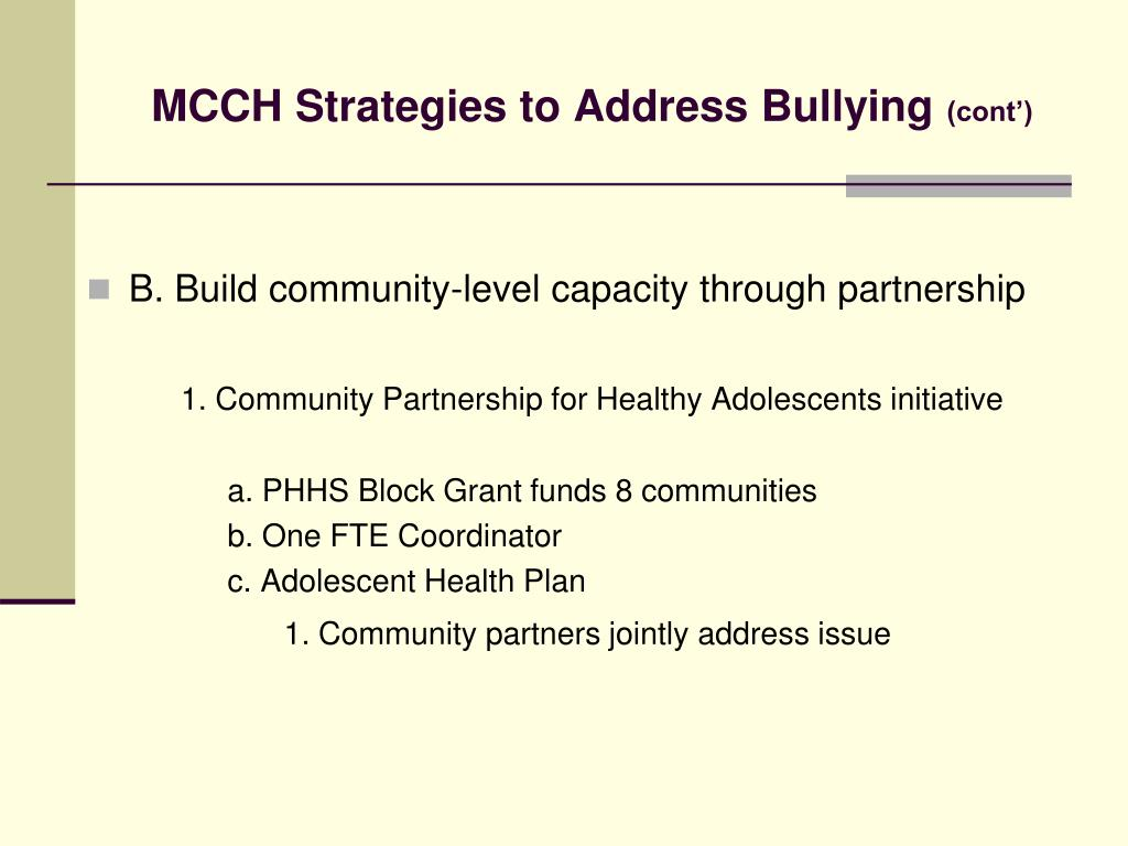 MCCH Strategies to Address Bullying