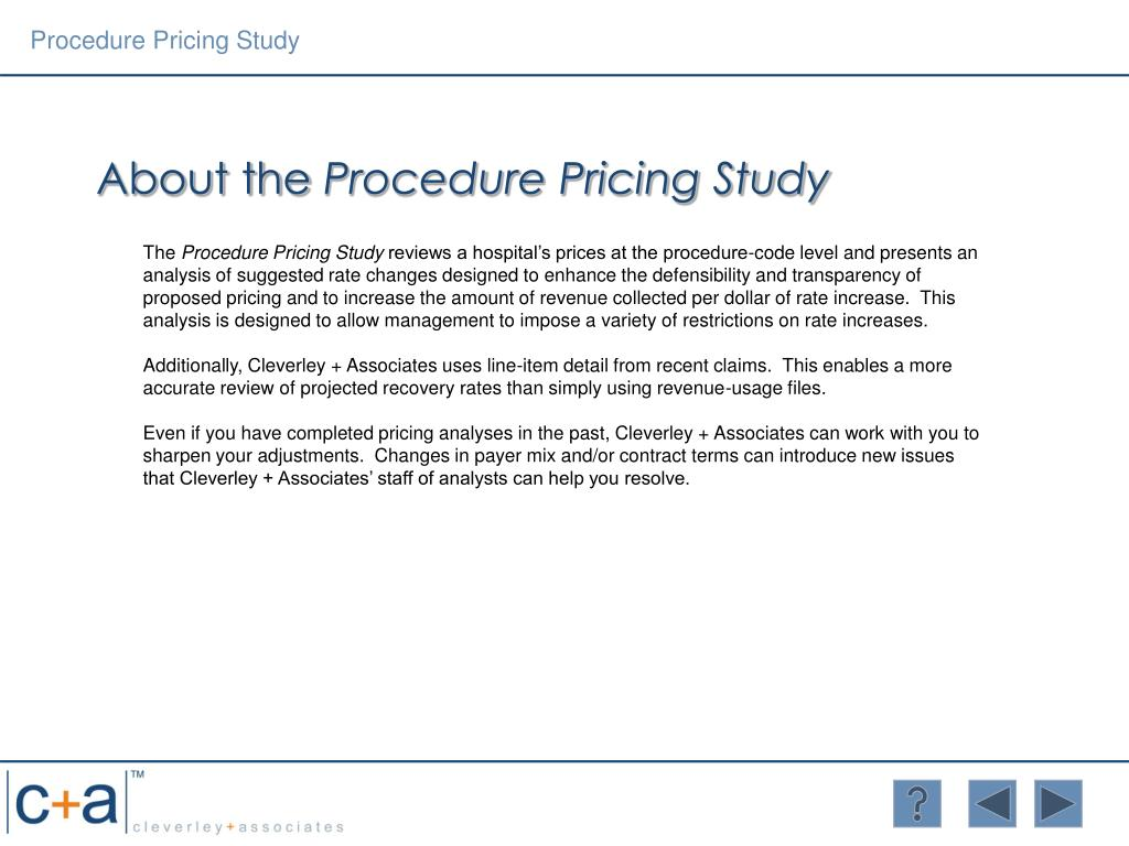Procedure Pricing Study