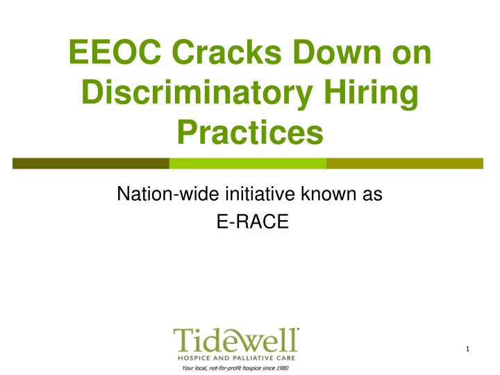 Eeoc cracks down on discriminatory hiring practices