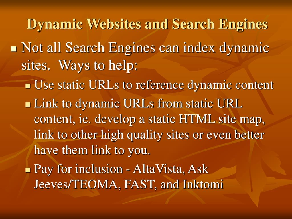 Dynamic Websites and Search Engines