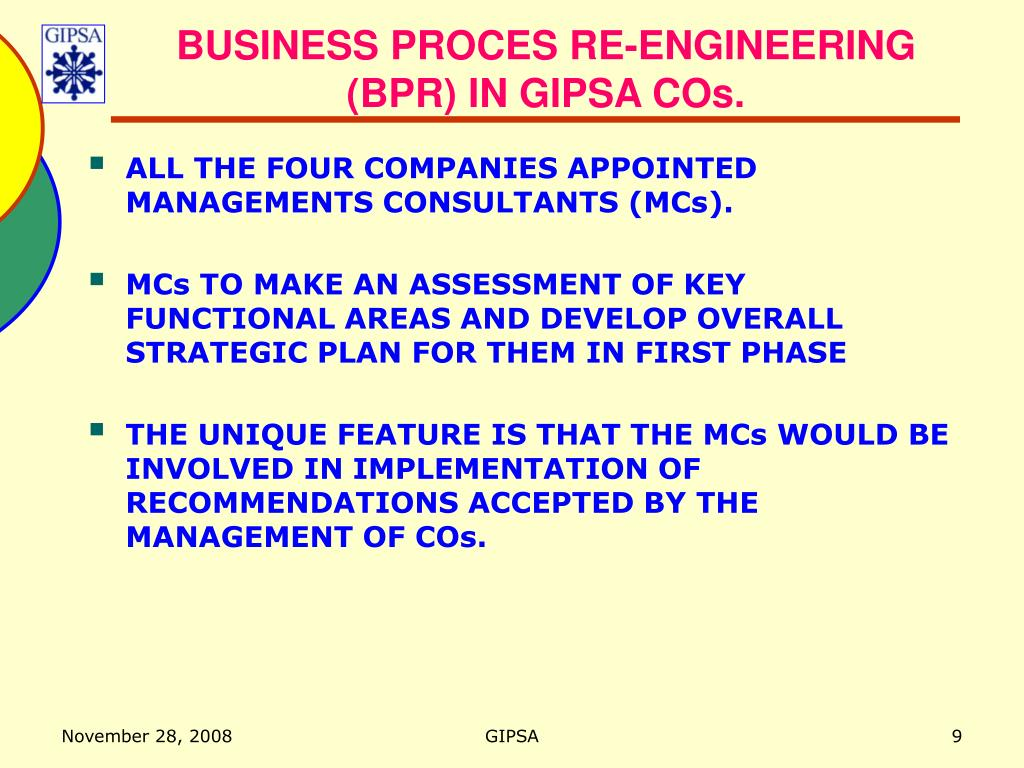 BUSINESS PROCES RE-ENGINEERING (BPR) IN GIPSA COs.