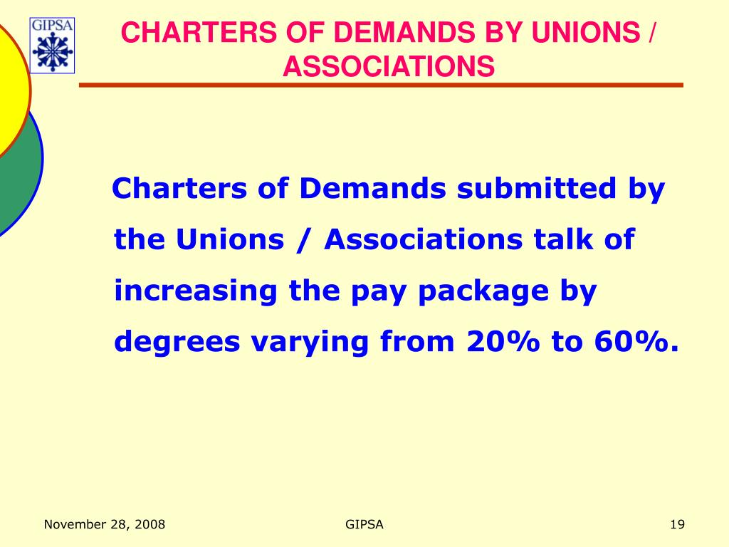 CHARTERS OF DEMANDS BY UNIONS / ASSOCIATIONS