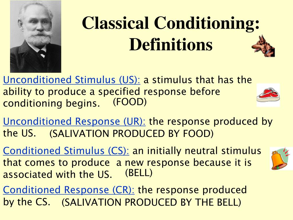 elements of classical conditioning Ivan pavlov made explicit the elements and workings of conditioning, which is a  and so physiological conditioning got termed 'classical conditioning' to avoid.
