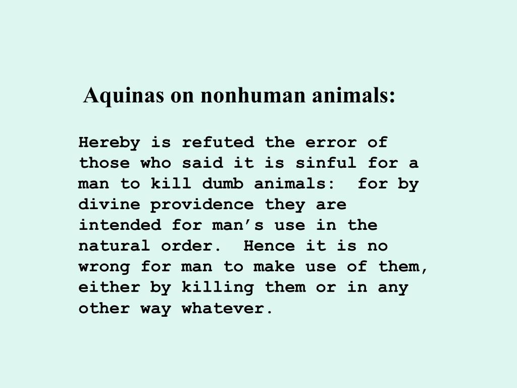Aquinas on nonhuman animals: