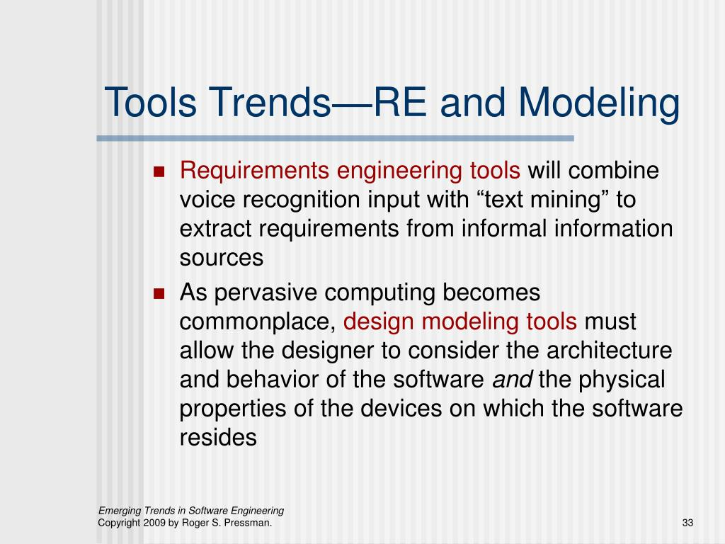 Tools Trends—RE and Modeling