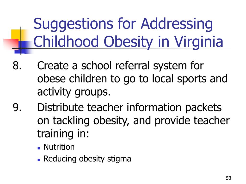 Suggestions for Addressing Childhood Obesity in Virginia