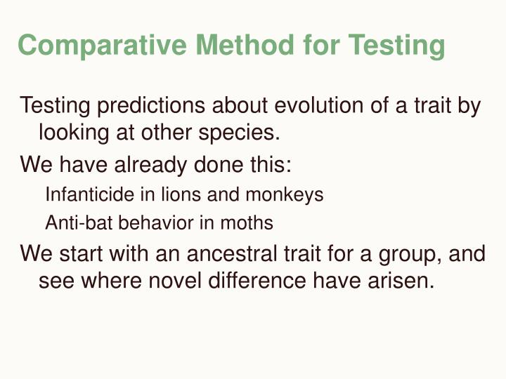 Comparative Method for Testing