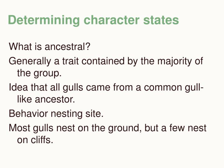Determining character states
