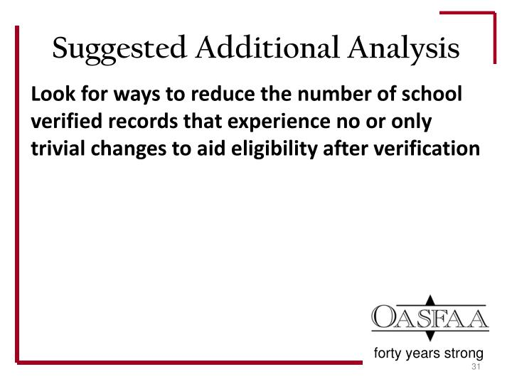 Look for ways to reduce the number of school verified records that experience no or only trivial changes to aid eligibility after verification