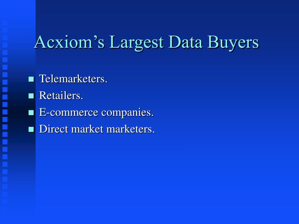 Acxiom's Largest Data Buyers
