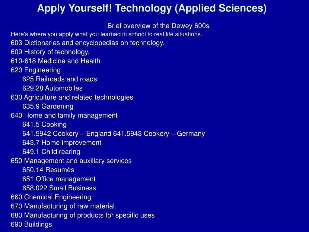 Apply Yourself! Technology (Applied Sciences)