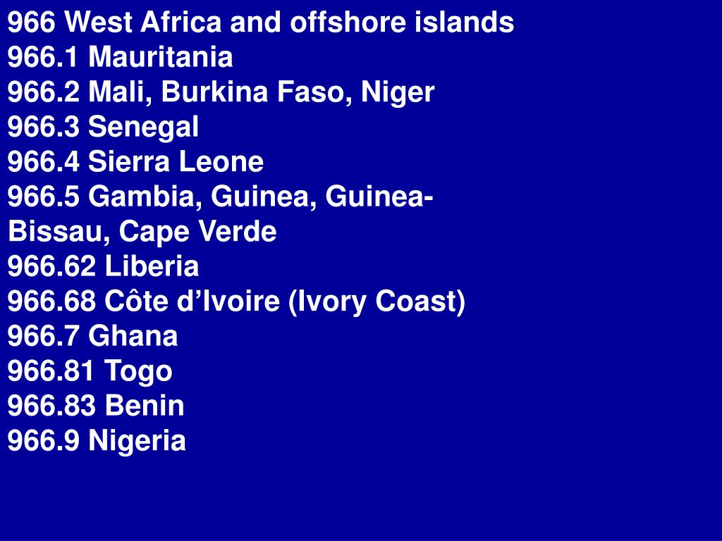 966 West Africa and offshore islands