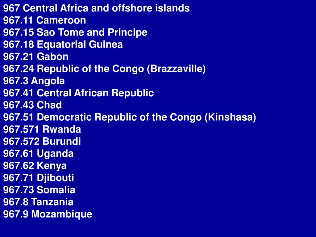 967 Central Africa and offshore islands