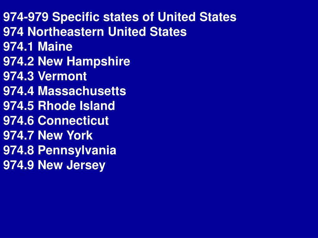974-979 Specific states of United States