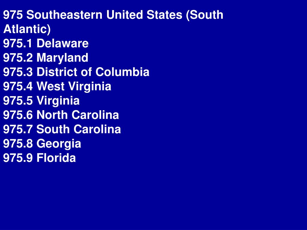 975 Southeastern United States (South Atlantic)