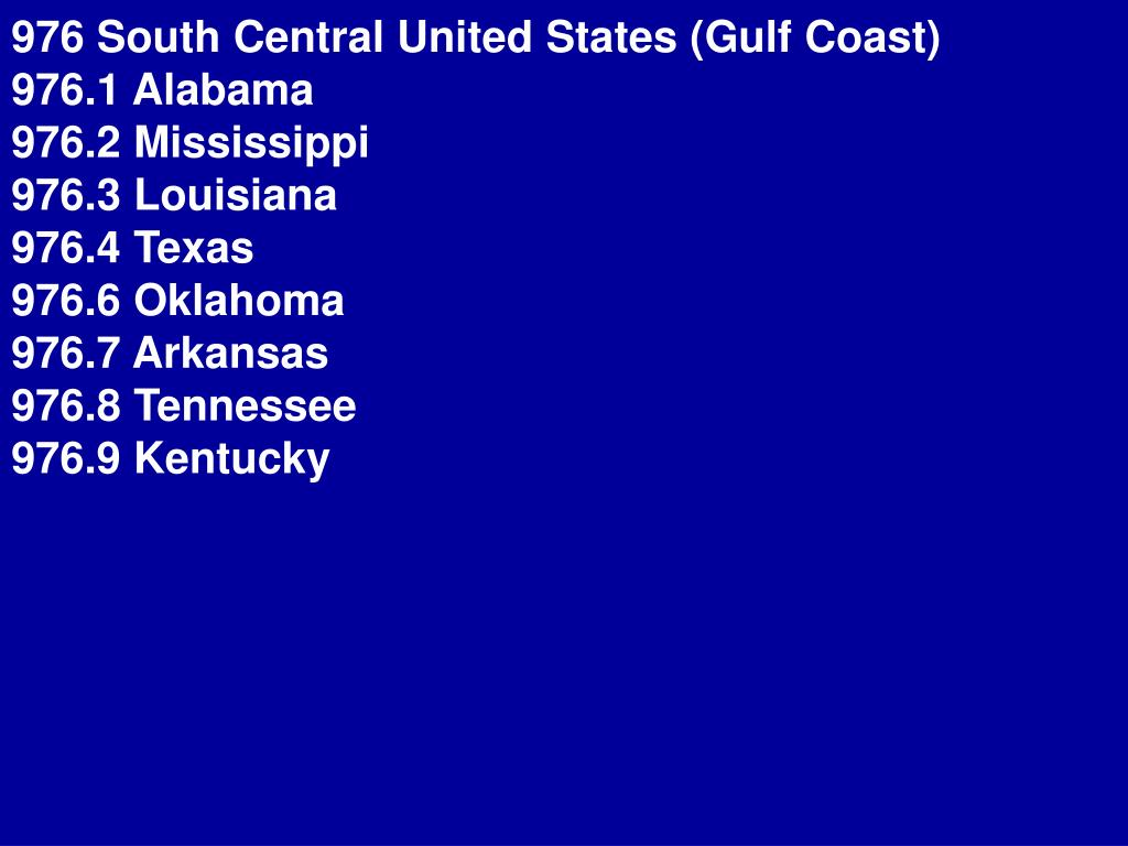 976 South Central United States (Gulf Coast)