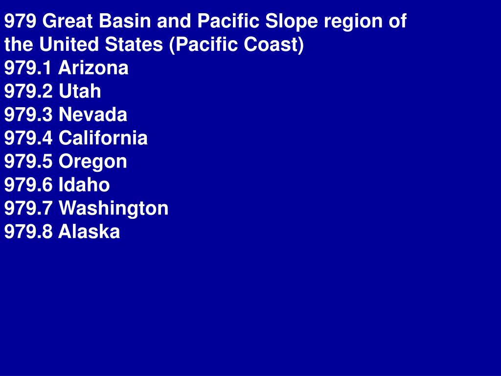 979 Great Basin and Pacific Slope region of the United States (Pacific Coast)