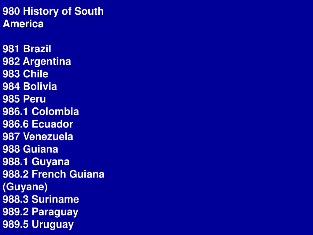 980 History of South America