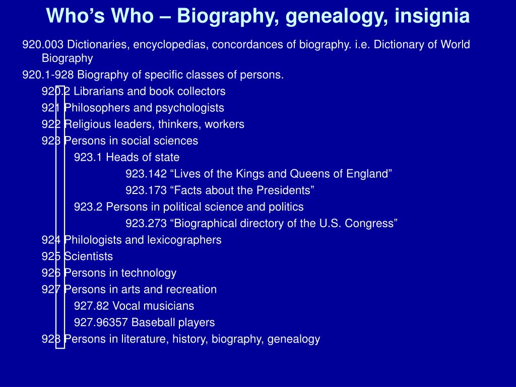 Who's Who – Biography, genealogy, insignia