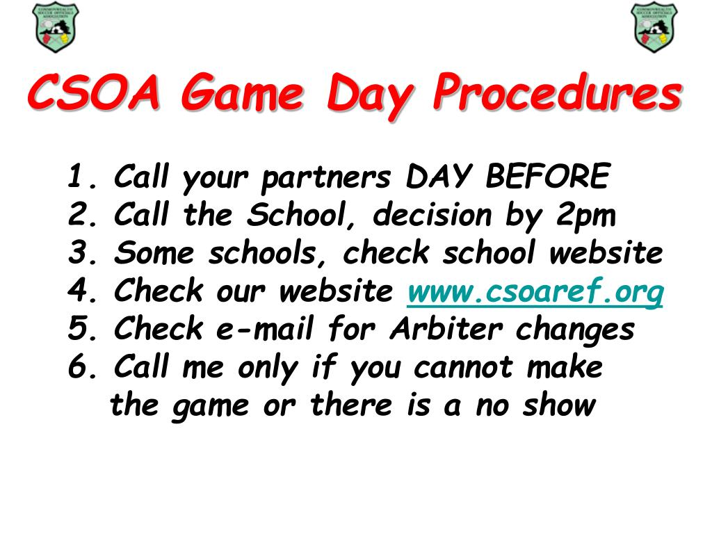 CSOA Game Day Procedures