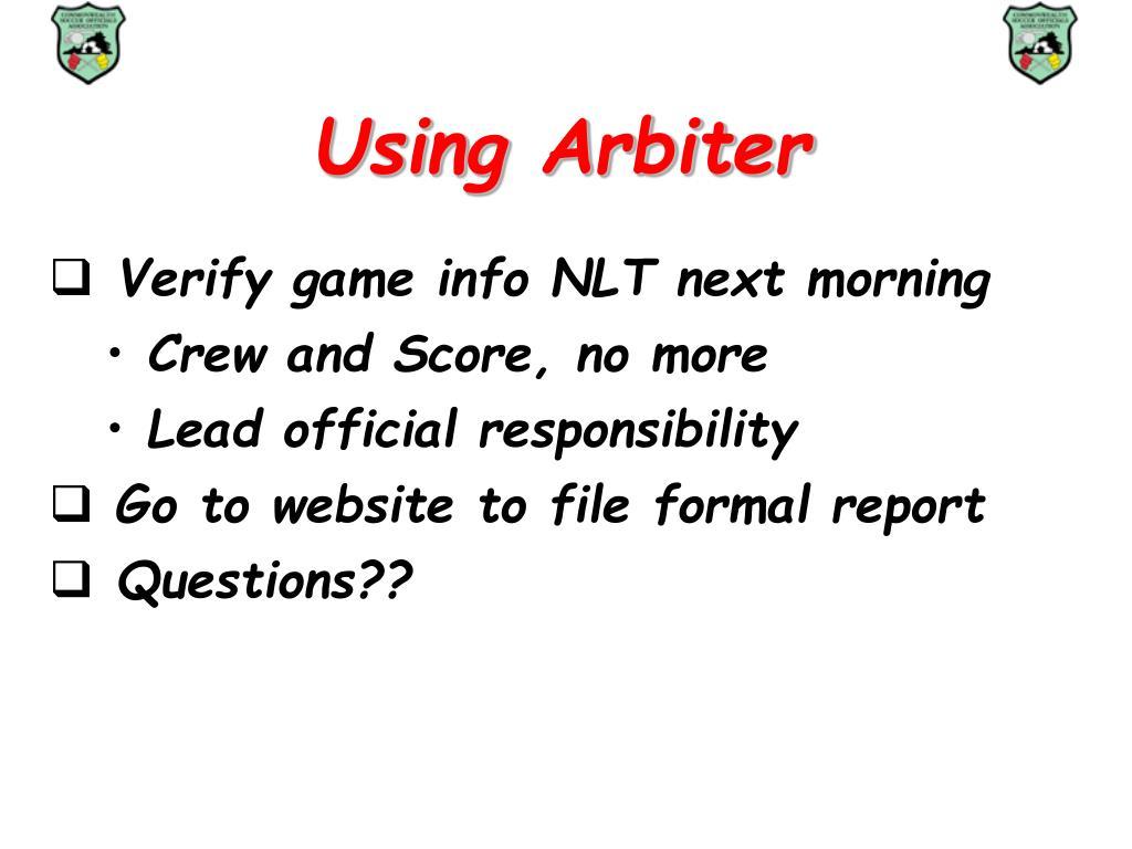 Using Arbiter