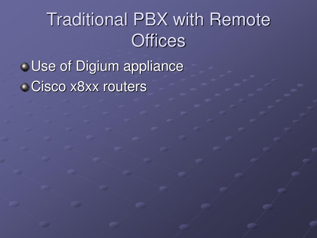 Traditional PBX with Remote Offices