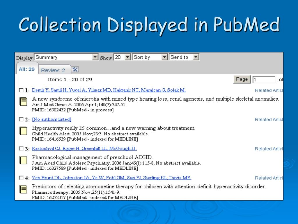 Collection Displayed in PubMed