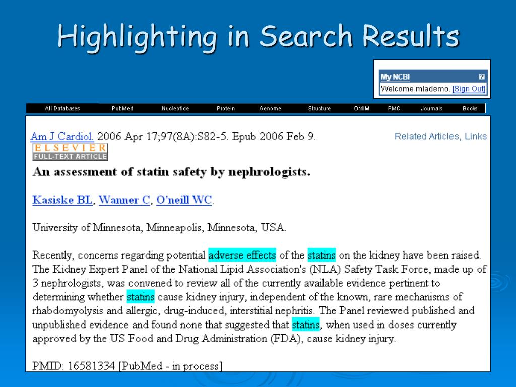 Highlighting in Search Results