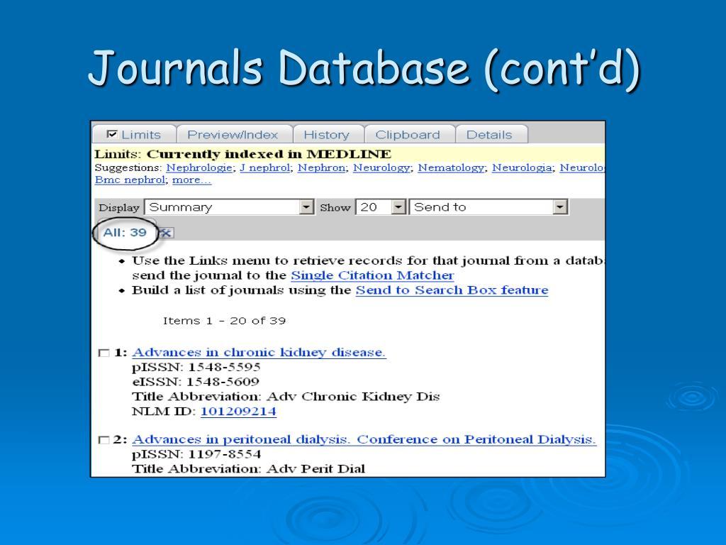 Journals Database (cont'd)