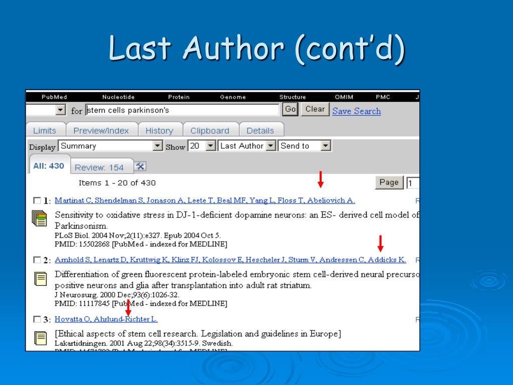 Last Author (cont'd)