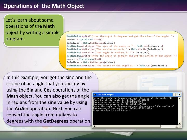 Operations of  the Math Object