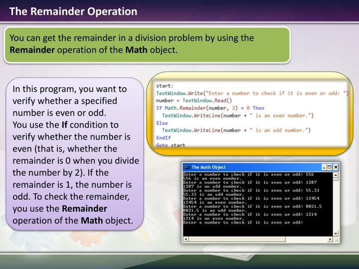 The Remainder Operation