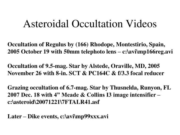 Asteroidal Occultation Videos