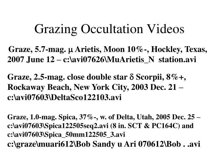 Grazing Occultation Videos