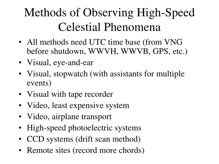 Methods of Observing High-Speed Celestial Phenomena
