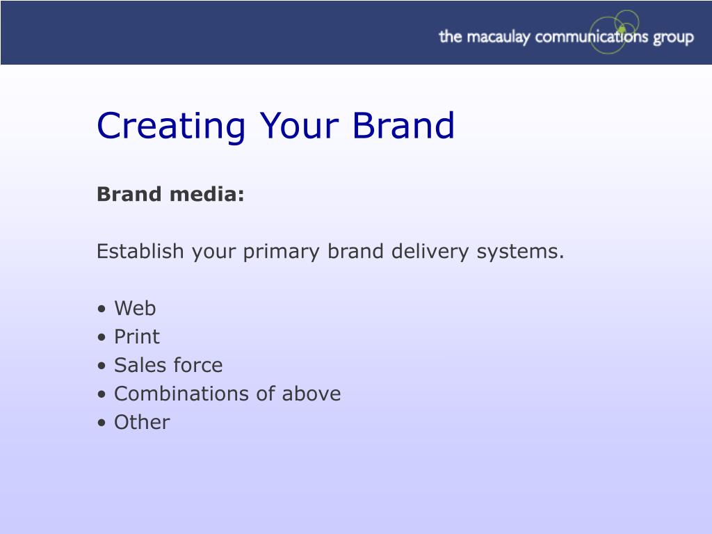 Creating Your Brand