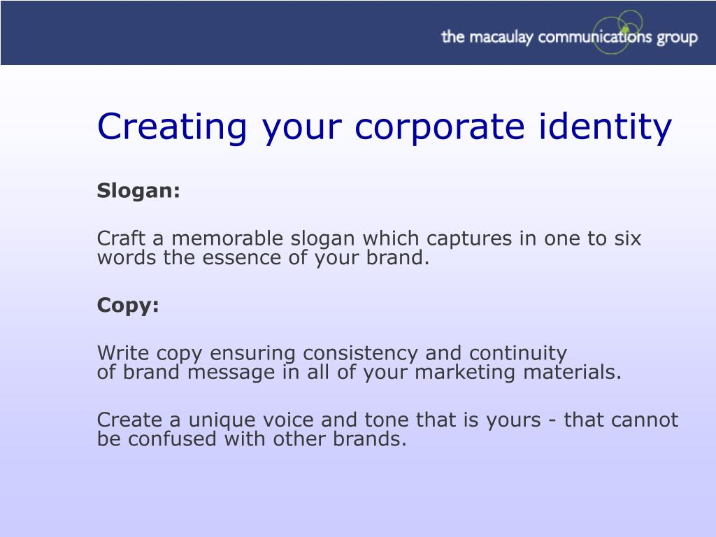 Creating your corporate identity
