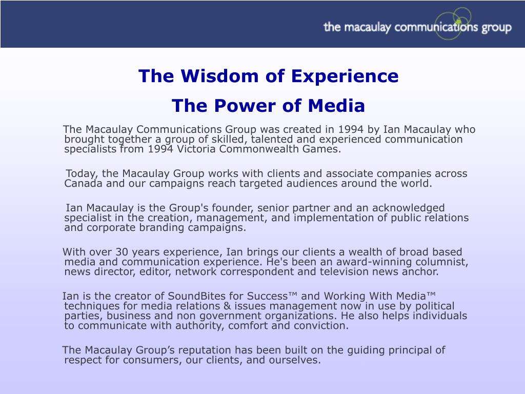 The Wisdom of Experience