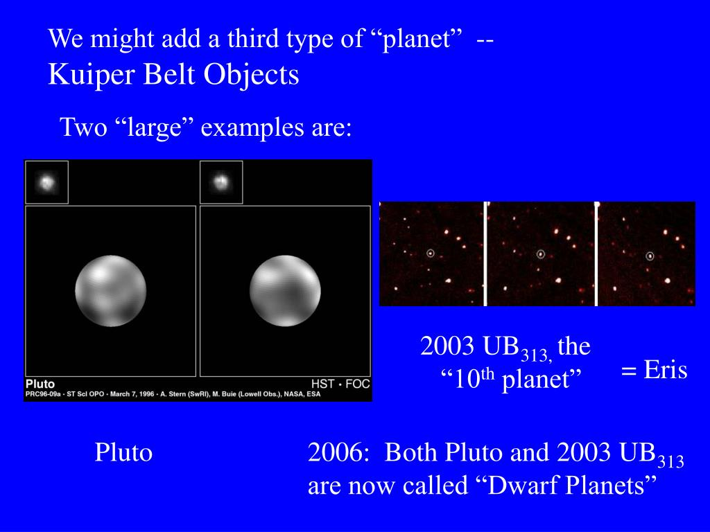 "We might add a third type of ""planet""  --"