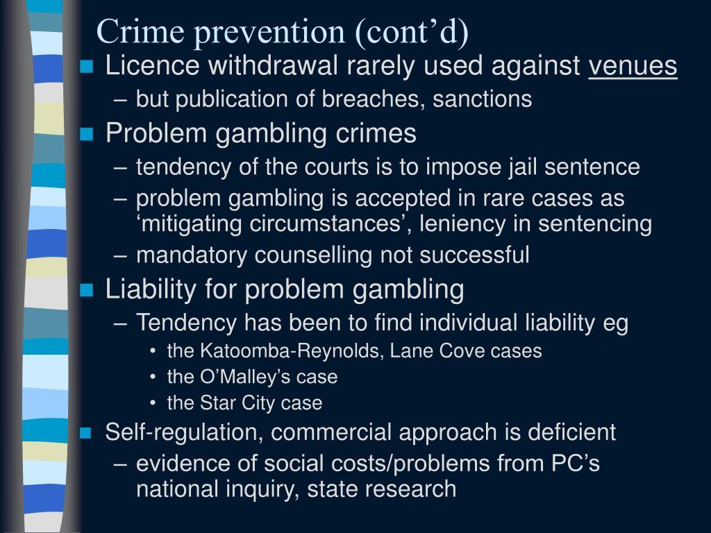 Crime prevention (cont'd)