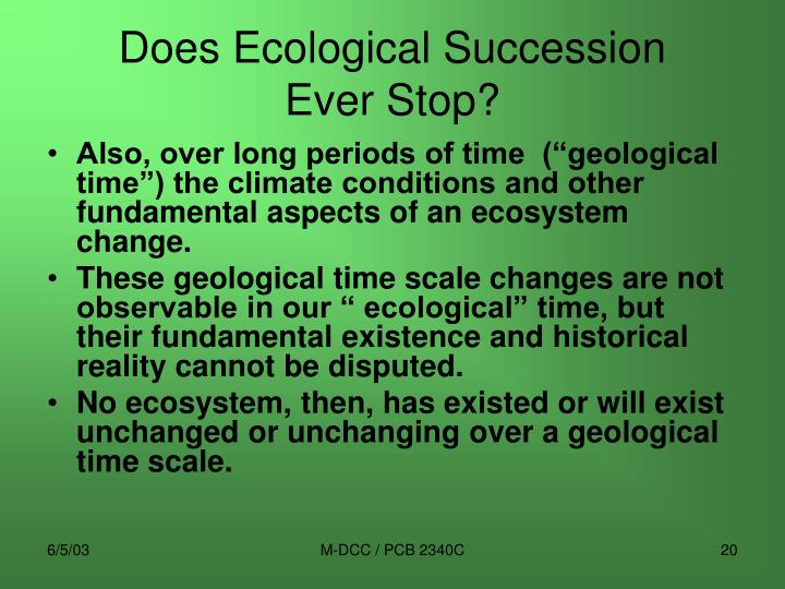 Does Ecological Succession