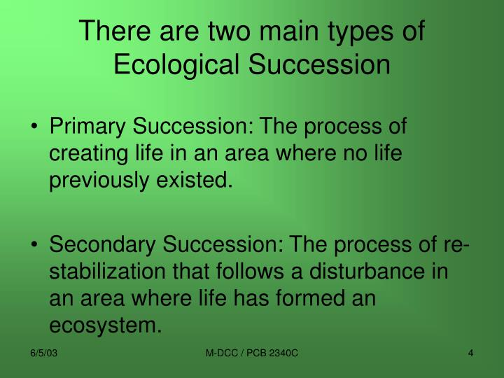 There are two main types of Ecological Succession