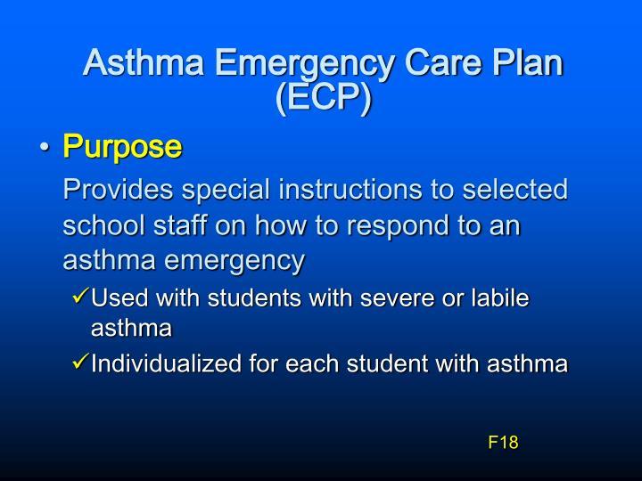 Asthma Emergency Care Plan