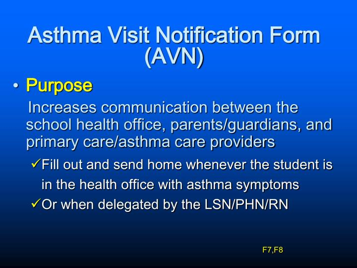 Asthma Visit Notification Form (AVN)