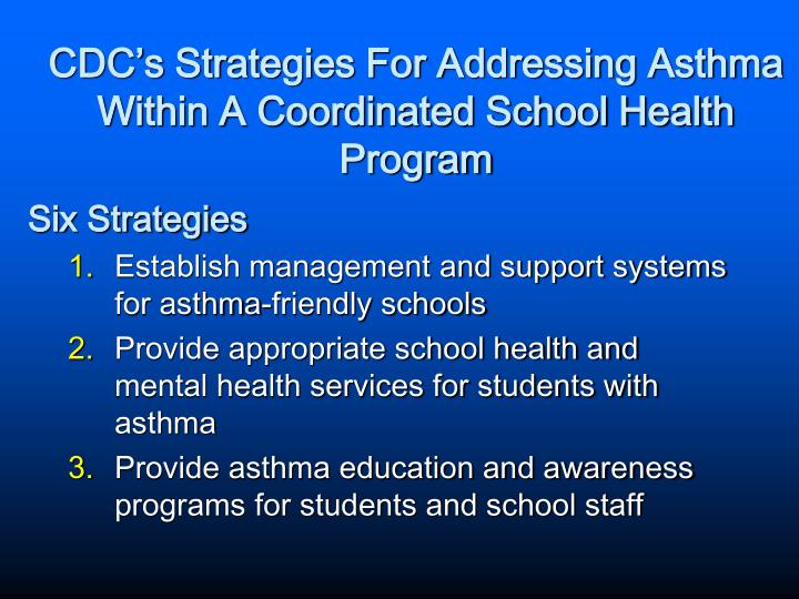 CDC's Strategies For Addressing Asthma Within A Coordinated School Health Program