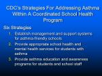 cdc s strategies for addressing asthma within a coordinated school health program