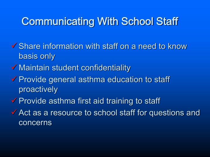 Communicating With School Staff