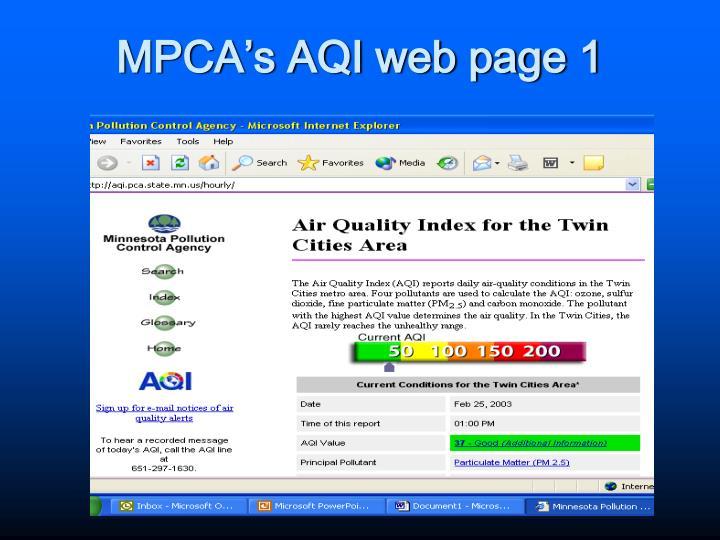 MPCA's AQI web page 1